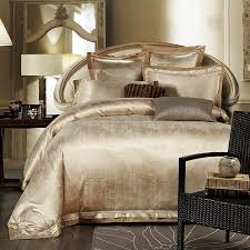 Bedding Sets Luxury Gold White Blue Jacquard Silk Bedding Set Luxury 4pcs Satin Bed