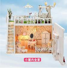 Sweet Coffee Shop France Style Diy Doll House 3d Miniature Building Doll Houses Diy Doll House Miniature Wooden Building