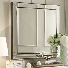 Bathroom Mirrors Overstock Inspire Q Brinkley Brown Trim Mirrored Frame Square Accent