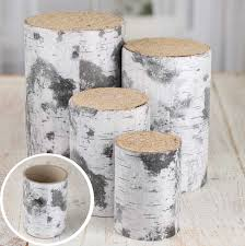 Rustic Faux Birch Wood Containers Decorative Accents