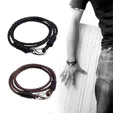 men black leather bracelet images Braided leather bracelet set black brown leather jpg