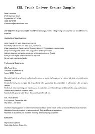 Truck Loader Resume Cdl Truck Driver Resume Free Resume Example And Writing Download