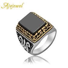 aliexpress buy mens rings black precious stones real ajojewel luxury men s jewelry big black geometric zircon