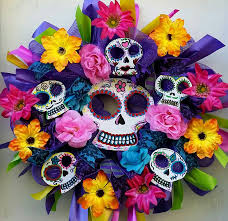 day of the dead home decor sugar skull day of the dead wreath dia de los muertos corona