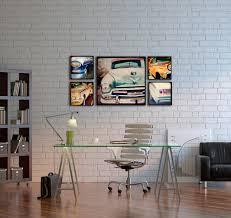 artistic painting on simple wall near wood storage on sleek floor