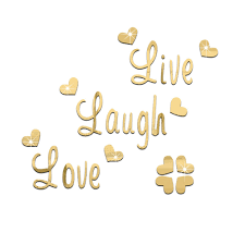 live love laugh fashion silver gold 3d acrylic mirror surface wall stickers live