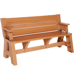 convert a bench faux wood outdoor 2 in 1 bench to table w 5 year