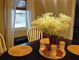 Home Decor Centerpieces Dining Room Glass Vase Of White Flowers And Stained Glass Candle