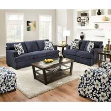 Simmons Upholstery Chicklet Indigo Floral Accent Chair Shop - Floral accent chairs living room