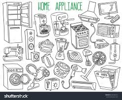 Home Design Doodle Book by Home Appliances Themed Doodle Set Various Stock Vector 281846762