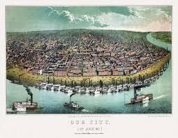 Map St Louis 24x36 Vintage Reproduction Historic Map Saint Louis Missouri 1859