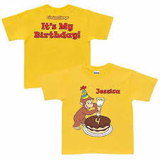 personalized curious george it s my birthday toddler yellow t