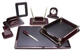 Leather Desk Organizer Set Office Set Supply Tray Pen Holder Executive Work Space Leather