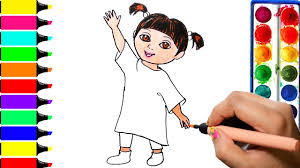 boo coloring page drawing monster inc learn colors for girls