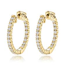 diamond earrings on sale gold inside out diamond hoop earrings for women 1 3ct 3 4in by