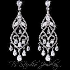 chandelier earrings pave bridal chandelier earrings pear cubic zirconia