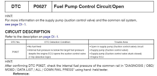 toyota hiace year 2008 trouble code p0627 and the engine will not
