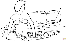 a woman in the sea coloring page free printable coloring pages