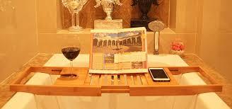 Bathtub Wine And Book Holder Amazon Com Bamboo Bathtub Caddy Tray Extendable Luxury Spa