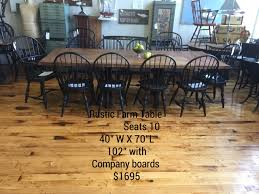 farmhouse table seats 10 rustic farm table shown with 10 warren chair works hand made black