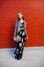floral maxi dress u0026 gray leather jacket