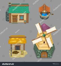 Design Your Own House Game Set Cartoon Farm Elements Create Your Stock Vector 458485375