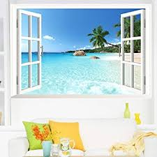 home decor 3d stickers amazon com large removable beach sea 3d window decal home decor