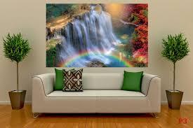 mural wonderful waterfall with rainbow wallpapers mural wonderful waterfall with rainbow