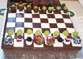 brownie chessboard w fresh fruit chess men cakecentral com