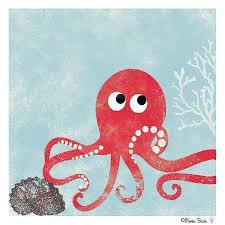 under the sea nursery art print set of 4 fish octopus crab