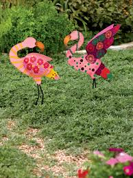 metal yard calico standing pink flamingo stake gardeners