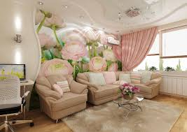 Floral Living Room Furniture Feminine And Luxury Family Room Furniture Sets With Beige Textile