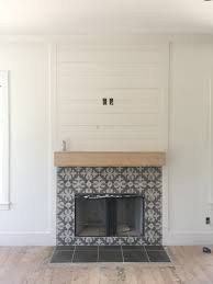 cement tile fireplace surround with shiplap fireplace nashville