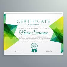 polygonal green achievement certificate template vector free