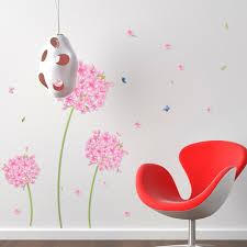 sticker mural chambre fille autocollant pissenlit fleurs décoration pour chambre fille