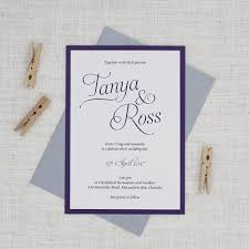 purple wedding invitations simple script wedding invitations be my guest