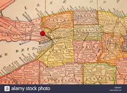 A Map Of New York State by Buffalo And Part Of New York State On Vintage 1920s Map With A Red