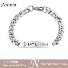 engravable id bracelet nirano personalized alert id bracelets for men stainless