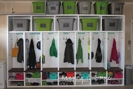 diy garage mudroom lockers with lots of storage keeping it