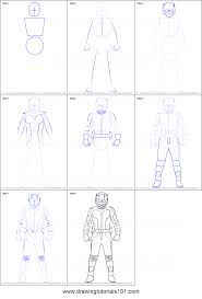 how to draw ant man printable step by step drawing sheet