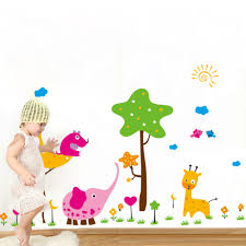 aliexpress com buy cartoon elephant giraffe wall stickers cute aliexpress com buy cartoon elephant giraffe wall stickers cute elephant art psoter decor stickers for kids room fashion decorates wall stickers from