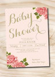 Shabby Chic Baby Shower Ideas by Gold And Floral Shabby Chic Baby Shower Invitation You Print