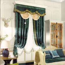 dark green vintage curtain chenille fabric no valance 2016 new