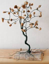 custom gem tree sculpture brown grain stone gems home decor