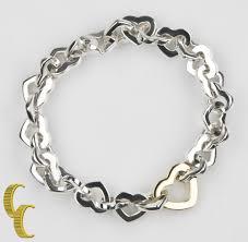 tiffany heart bracelet sterling silver images Tiffany co 18k yellow gold and sterling silver heart link jpg