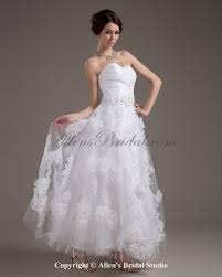 allens bridal organza sweetheart ankle length a line wedding dress