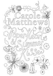 book cover colouring competition carole matthews