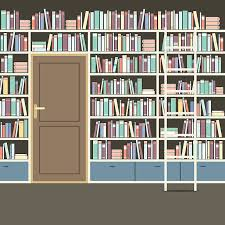 Library Bookcases With Ladder Library Bookcase With Ladder Clip Art Vector Images