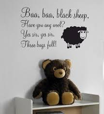 Nursery Rhyme Wall Decals Baa Baa Black Sheep Nursery Rhyme Wall Sticker Quote Decal Vinyl
