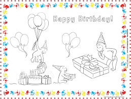 curious george printable place mat coloring page george